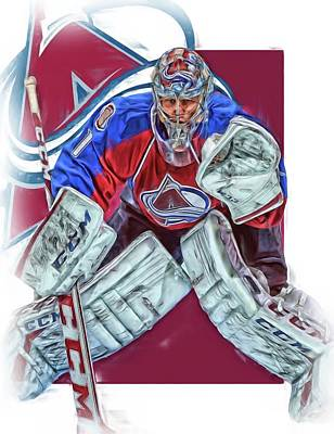 Mixed Media - Semyon Varlamov Colorado Avalanche Oil Art by Joe Hamilton