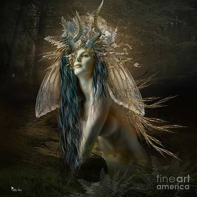 Digital Art - Sen The Wood Fairy by Ali Oppy