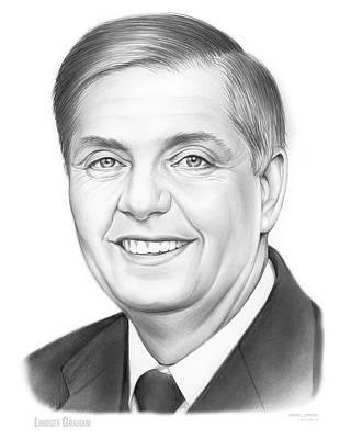 Politicians Drawings - Senator Lindsey Graham by Greg Joens