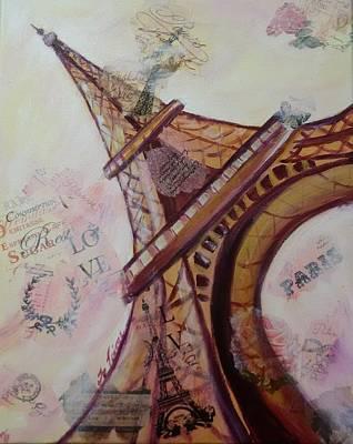 Decoupage Painting - Sending Paris Love by Lynne McQueen