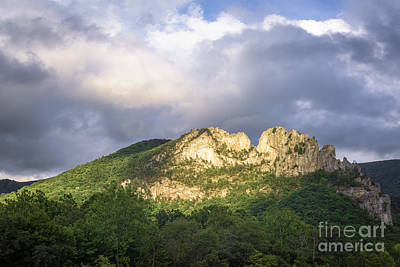 Seneca Rocks With Clouds Art Print by Dr Regina E Schulte-Ladbeck