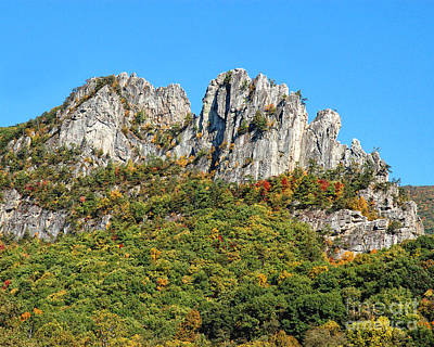 Photograph - Seneca Rocks With First Hints Of Autumn Color 0321c by Cynthia Staley