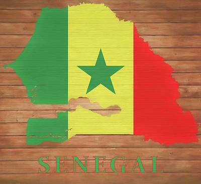 Mixed Media - Senegal Rustic Map On Wood by Dan Sproul