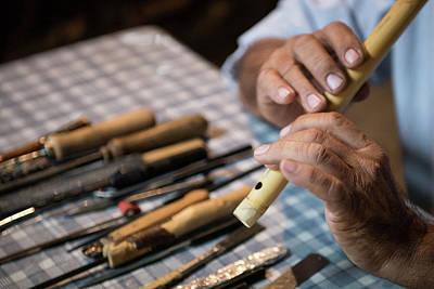 Senior Man Playing A  Music Instrument Original by Michalakis Ppalis
