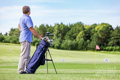 Player Photograph - Senior Man Standing Proudly On A Golf Club. by Michal Bednarek