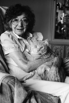 Pet Care Photograph - Senior Woman With Cat, C.1980s by H. Armstrong Roberts/ClassicStock