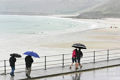 Photograph - Sennen Cove Brolly Walk by Terri Waters