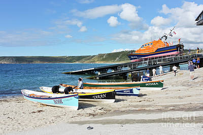 Sennen Cove Lifeboat And Pilot Gigs Art Print by Terri Waters