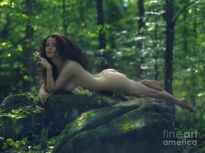 Nude Nature Photograph - Sensual Art Nude Portrart Of A Beautiful Woman With Long Brown H by Awen Fine Art Prints