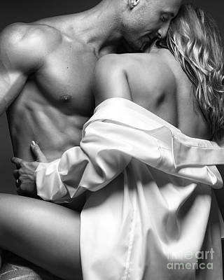 Sensual Couple Portrait Woman Embracing A Muscular Man Art Print