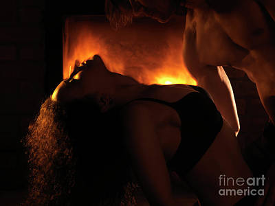 Nude Couple Photograph - Sensual Dynamic Photo Of Couple Making Love In Front Of Fireplac by Awen Fine Art Prints