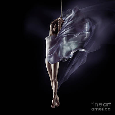 Art Nude Erotic Bondage Photograph - Sensual Nude Photo Of A Woman Suspended In Mid-air On Bondage Ro by Awen Fine Art Prints