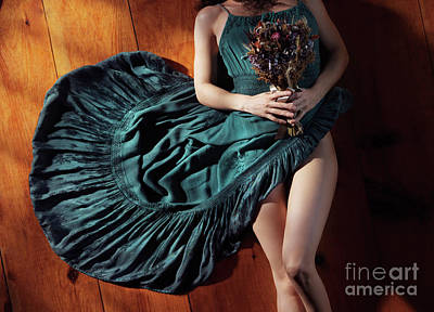 Flowers Photograph - Sensual Portrait Of Woman In Blue Dress With Bare Legs Holding F by Awen Fine Art Prints