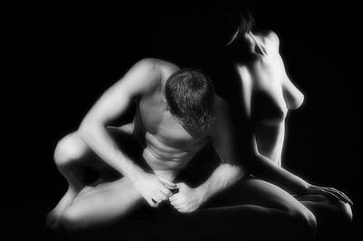 Black And White Nude Couple Photograph - Sensuality by Mountain Dreams
