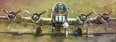 Mixed Media - Sentimental Journey B-17 by David Wagner