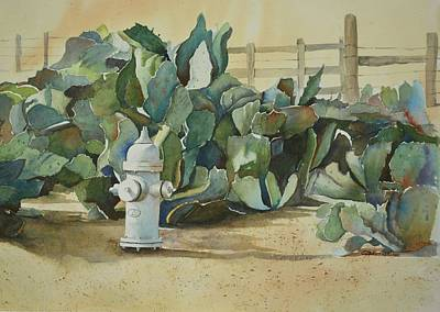 Fire Hydrant Mixed Media - Sentinal In The Cactus Patch by E M Sutherland