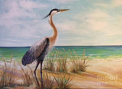 Wall Art - Painting - Sentinel. Great Blue Heron. by Raul Alsina
