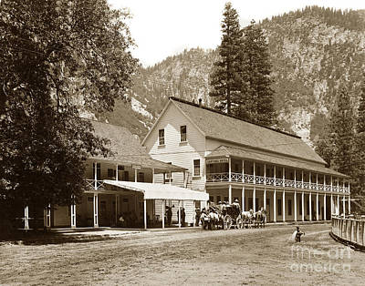 Photograph - Sentinel Hotel And Ivy And River Cottages Circa 1895 by California Views Mr Pat Hathaway Archives