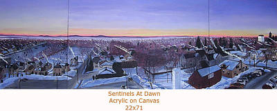 Painting - Sentinels At Dawn Canvas View by Stella Sherman