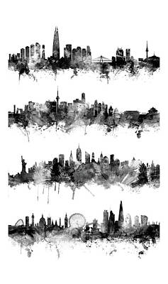 Digital Art - Seoul, Beijing, New York And London Custom Skyline Collection by Michael Tompsett