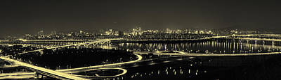 Horizontal Photograph - Seoul Night Panorama Landscape Of Seoul Korea Black And White Antique by Phoresto Kim