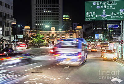 Photograph - Seoul Night Traffic by Didier Marti