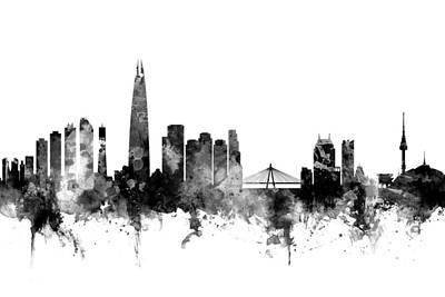 Seoul Digital Art - Seoul Skyline South Korea by Michael Tompsett
