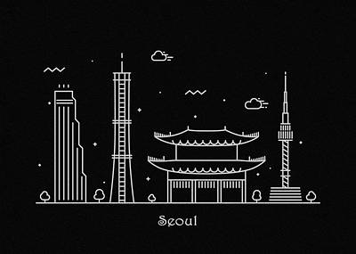 Drawing - Seoul Skyline Travel Poster by Inspirowl Design