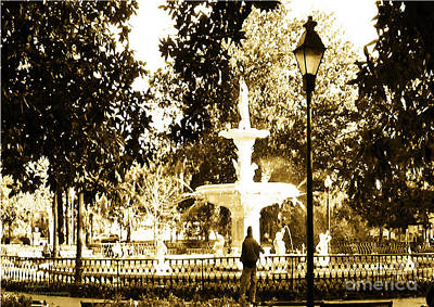 Photograph - Sepia Afternoon Forsyth Park Fountain In Savannah Georgia Usa  by Aberjhani