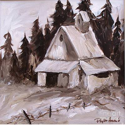 Monotone Painting - Sepia Barn by Phyllis Howard