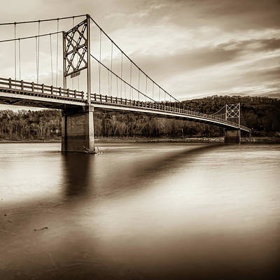 Photograph - Sepia Beaver Bridge - Northwest Arkansas by Gregory Ballos