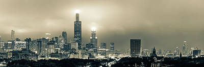 Photograph - Sepia Chicago Skyline City Panorama by Gregory Ballos