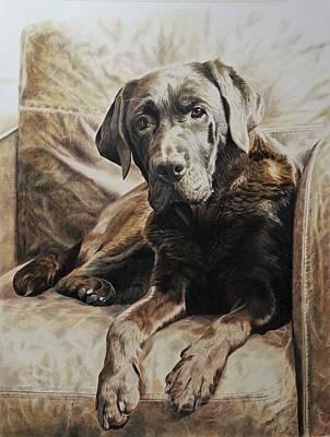 Wall Art - Painting - Sepia Chocolate Labrador by Julian Wheat
