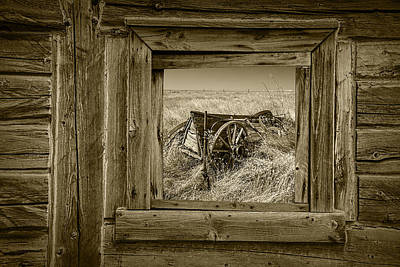 Sepia Colored Farm Wagon With Barn Window Art Print by Randall Nyhof