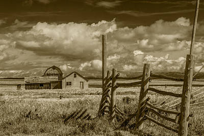 Brown Toned Art Photograph - Sepia Colored Image Of The John Moulton Farm On Mormon Row by Randall Nyhof