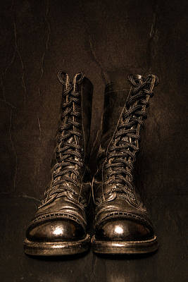 Police Photograph - Sepia Combat Boots by Erin Cadigan