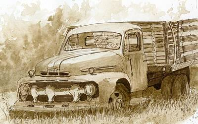 Sepia Ford Truck Sketch Art Print by David King