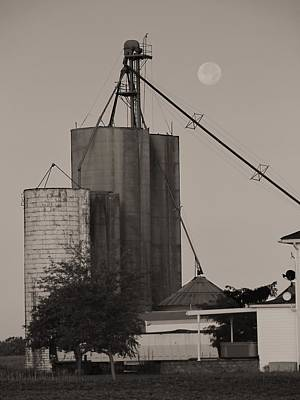 Photograph - Sepia Full Moon On The Farm by Dan Sproul
