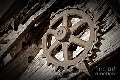 Photograph - Sepia Gear Wheel by Chalet Roome-Rigdon