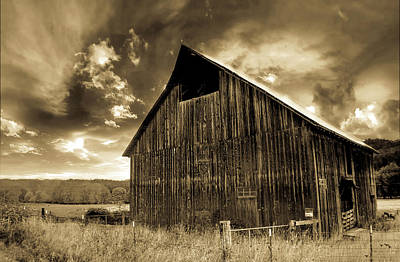 Photograph - Sepia Historic Barn by Tyra OBryant