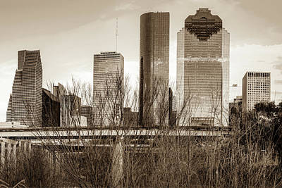 Photograph - Sepia Houston Texas City Skyline by Gregory Ballos