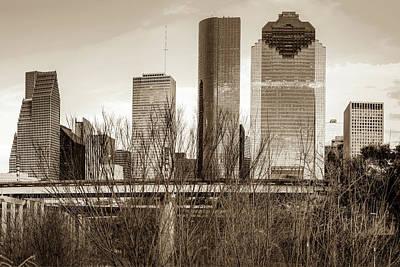Photograph - Sepia Houston Texas City Skyline by Gregory Ballos