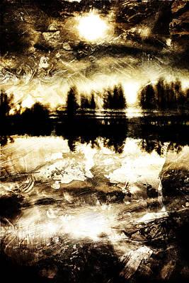 Sepia Lake Sunset Art Print