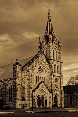 Sepia Limestone Church Original by Linda Phelps