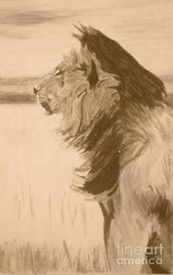 Pastel - Sepia Lion by Bonnie Cushman