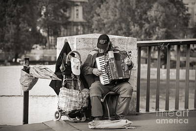 Photograph - Sepia Male Playing Accordion Paris  by Chuck Kuhn