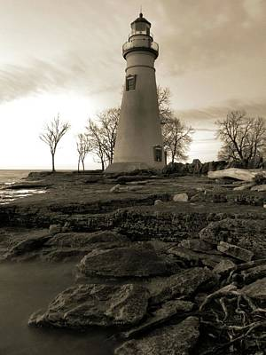 Photograph - Sepia Marblehead Lighthouse by Dan Sproul
