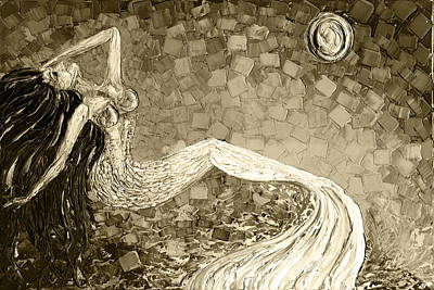 Impressionist Painting - Sepia Mermaid by Susanna Shap