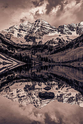 Photograph - Sepia Mountains - Maroon Bells - Aspen Colorado by Gregory Ballos