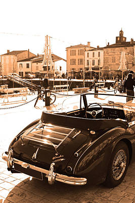 Vintage Car Photograph - Sepia Old Car In Harbour by Alex Antoine